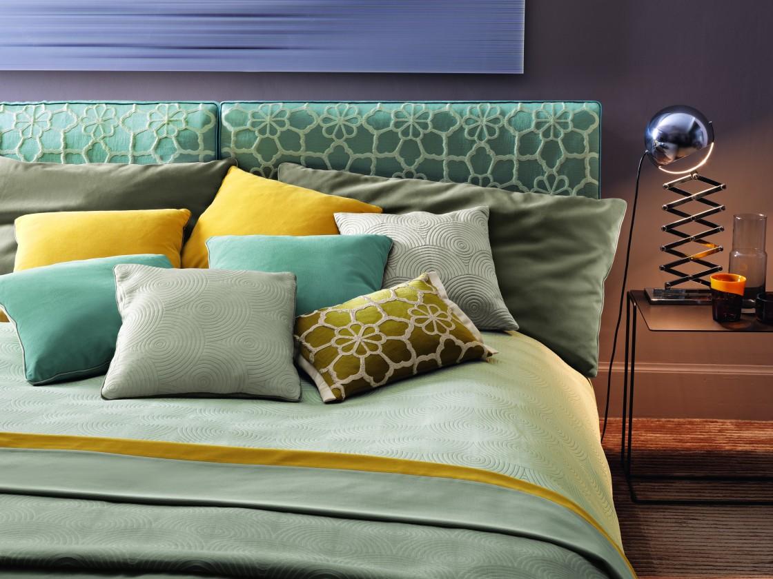 Accessoires pour décor du Lit, dosseret de lit, coussins sur mesure, jeté de lit plat, tissus Zimmer Rhode